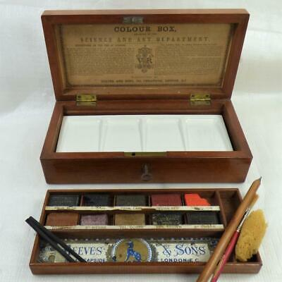 Antique REEVES WATERCOLOUR ARTISTS PAINT BOX C1870 SCIENCE AWARD Good Condition • 325£