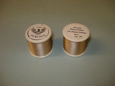 VINTAGE FISHING RODS WHIPPING PURE SILK THREAD No26 FAWN FOR ROD RINGS • 10£