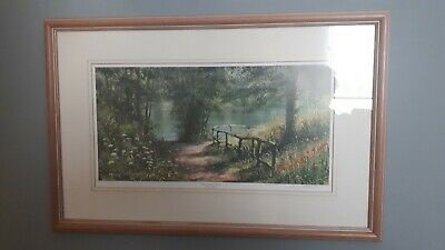 Signed Terry Harrison Print, Glass Front, Wood Frame, Summer Reflections • 25£