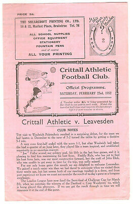 Crittall Athletic (Braintree) V Leavesden (Watford) 1951/52 London League • 15£