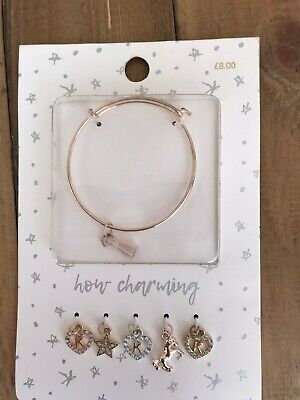 NEXT Girls Initial K Unicorn Charm Braclet Set New • 3.99£