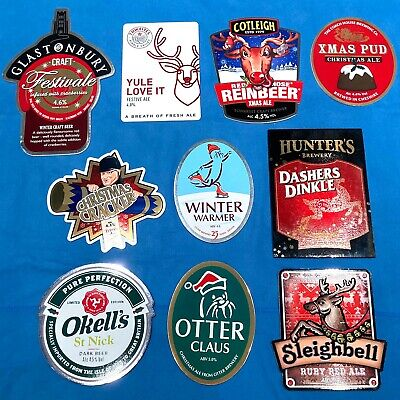 10x DIFFERENT CHRISTMAS Beer Pump Clips - XMAS JOB LOT Man Cave Shed *ALL VGC* • 3.20£
