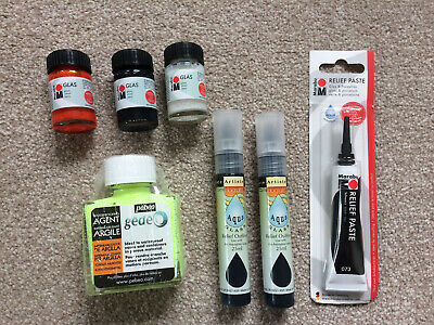 Bundle Lot Glass Painting Supplies Crafting Art Paint Inc Pebeo Gedeo And Marabu • 22.99£