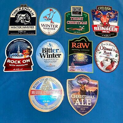 10x DIFFERENT CHRISTMAS Beer Pump Clips - XMAS JOB LOT Man Cave Shed *ALL VGC* • 0.99£