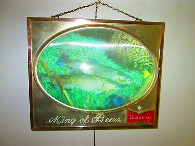 $ CDN123.27 • Buy Vintage Budweiser Bubble Light Up Beer Sign With 2 TROUT