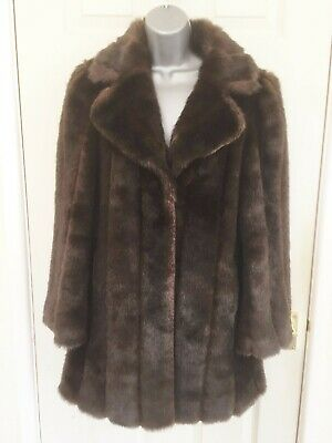 Ladies F&F Collection Brown Faux Fur Vintage Style Pelted Coat - Size 10 • 19.99£