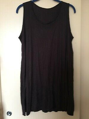 Yong Kim Crinkle Sleeveless Long Black Tunic, Bust 38  Used Excellent Condition • 18£
