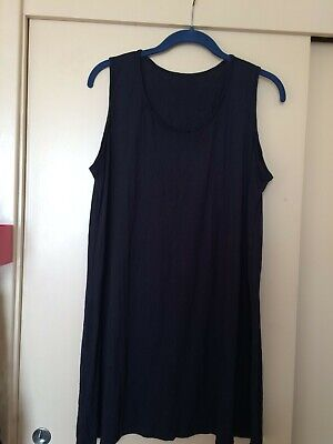 Yong Kim Crinkle Sleeveless Long Navy Tunic, Bust 40  Used Excellent Condition • 18£