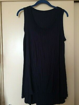 Yong Kim Crinkle Sleeveless Navy Seamed Tunic, Bust 36  Used Excellent Condition • 18£