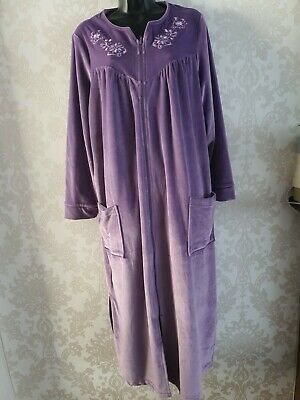 Shapely Figures ZIP FRONT DRESSING GOWN - Purple Size 12-14 • 10£
