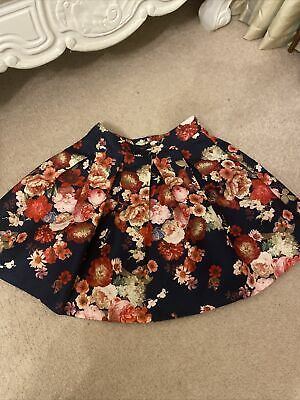 Yumi Girls Floral Navy Skater Skirt Age 11-12 • 4£