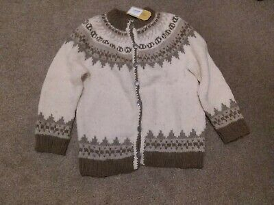 Hand Knitted Ladies Vintage Cream Wool Chunky Cardigan Approx Size 14 16 • 11.80£
