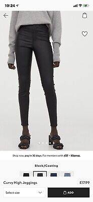 Leather Look Coated Jeans / Jeggings - H&M • 10£