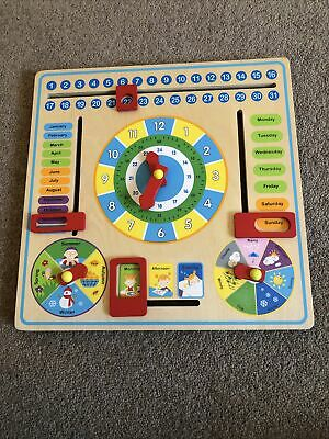 My First Wooden Activity Calendar Clock - Cognitive Learning Educational Toy ... • 5.99£