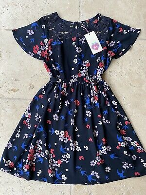Yumi Girl Navy Blue Floral Dress Age 11-12 • 4.50£