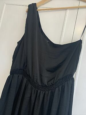 ASOS Black One Shoulder Maxi Grecian Style Dress Size 16 • 1.40£