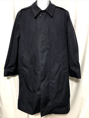$29.99 • Buy Army Military Navy Blue All Weather Trench Rain Coat Jacket 40R With Liner Vtg