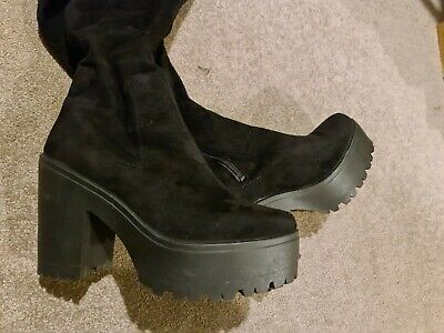 Chunky Platform Over The Knee Boots River Island Size 5 • 3.30£
