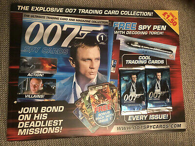JAMES BOND 007 SPY CARDS MAGAZINE Issue 1 Pen 🖊 & Sealed Cards Complete BN Mint • 19.99£