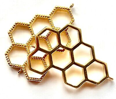 £6.55 • Buy High Polished Brass Honeycomb Filigree - Pendant - Spacer Findings - 2 Pieces