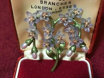 Vintage Style Forget-Me-Not Bouquet Floral Brooch Blue Grey Lucite Flowers • 14.95£