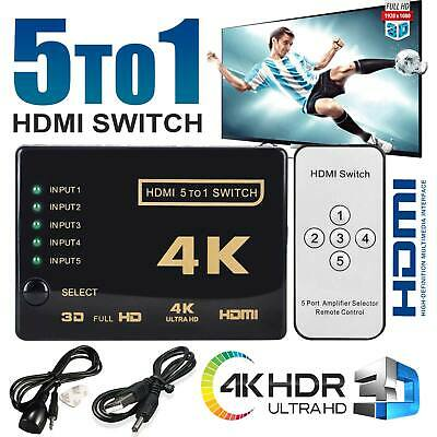 5 Way Port HDMI Splitter Switch 5 To 1 Hub 4k IR Remote USB Cable For HDTV PS3 • 6.49£
