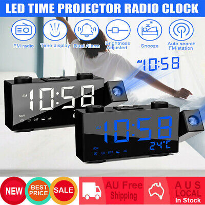 AU32.88 • Buy Clock Projection Projector LED Digital Clock FM Radio Alarm Snooze Dimmable USB