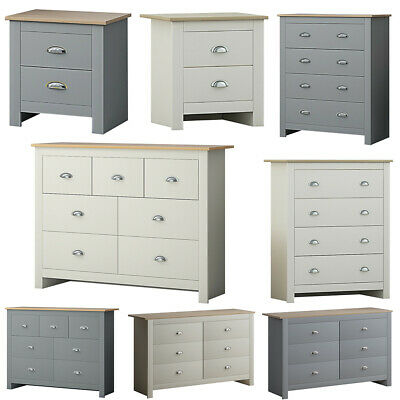 £95 • Buy Traditional Shaker Style Bedside & Chest Of Drawers Grey & Cream Light Oak Top