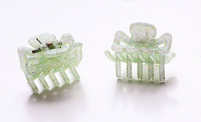 £3.99 • Buy Two Pastel Green Glittery Mini Bulldog Clips For 90s Girl Glam Hair Care (zx42)