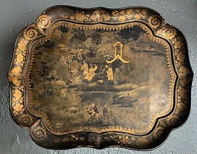 18th Century Japanese Oriental Paper Mache Black Gold Lacquer Table Tray • 290£