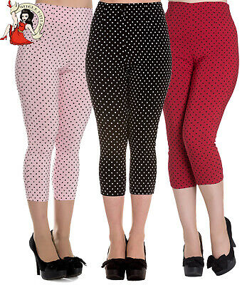 Hell Bunny Kay Capris 50s Trousers Polka Dot Rockabilly Black Red Pink • 17.99£
