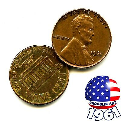 A 1961 United States Of America Brass 1¢ ONE CENT Coin, 60 Years Old! • 3.95£