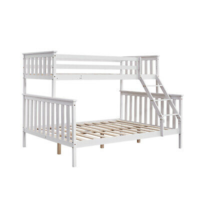 £207.89 • Buy Triple Bunk Bed 3FT Single & 4FT6 Double Bed Frame With Stair Solid Wooden Pine