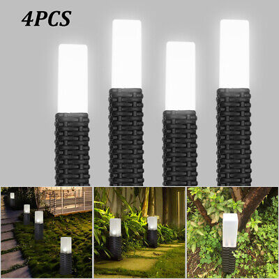 4PCS Solar Powered Rattan Led Post Stake Lights Garden Patio Outdoor Waterproof • 12.99£
