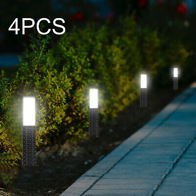 4PCS Solar Powered Rattan Led Post Stake Lights Garden Patio Outdoor Waterproof • 12.19£