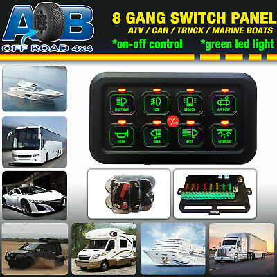 AU183 • Buy 8 Gang Switch Panel Circuit Electronic Relay System 12V 24V LED GREEN CAR BOAT