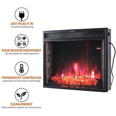 £145.95 • Buy Electric Fireplace Insert LED Heater Stove Adjustable Flame Remote Wi-Fi Control