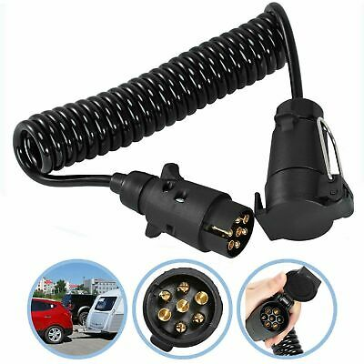 £14.49 • Buy Trailer Board Light Cable Lead 7 Pin Extension Socket Wire Curly Cable Black UK