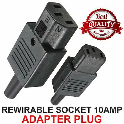 IEC Female Inline Rewirable Socket Adapter Plug 10A C13 3 Pin For Kettle Plug • 3.35£