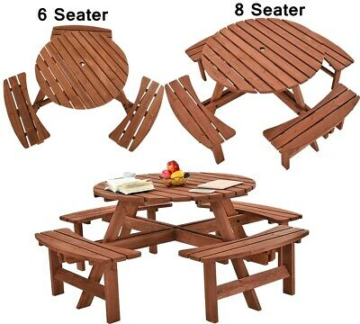 6 / 8 Seaters Round Picnic Table & Bench Chair Set Wood Garden Dining Furniture • 197.99£