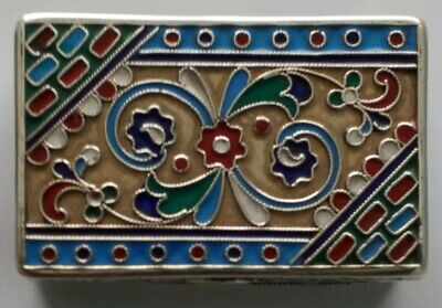 A Stunning Antique Russian Solid Silver Enamel Snuff Box Moscow 1908 ~ 1926 • 625£