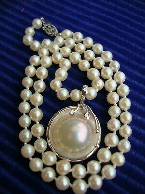 $499 • Buy 14k Vintage White Gold 16.5 Inches Pearl Necklace Mabe Pearl Diamond Enhancer