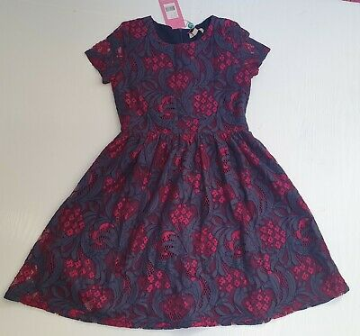 Yumi Girl Navy Pink Frorel Lace Netted Dress Party Occasion Age 11-12  Years New • 16.99£