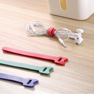 10pcs/set Hook And Loop Cord Wrap Adjustable Fastening Cable Ties Nylon Reusable • 2.67£