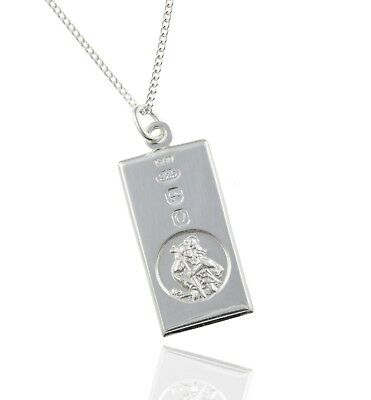 925 Sterling Silver Rectangle UK Hallmarked St.Christopher Pendant - 18  Chain. • 42.99£
