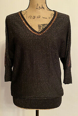 £7.50 • Buy Black & Rose Gold Christmas/party Sparkle Top From Wallis - Size Small Petite