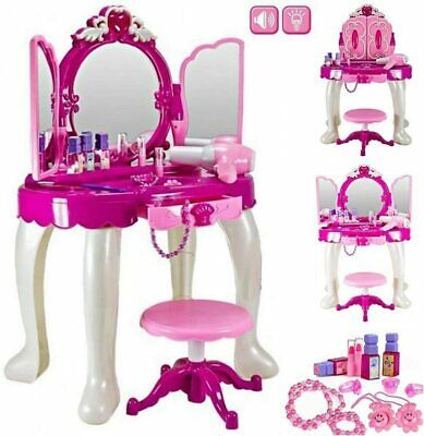 Girls Dressing Table Vanity Mirror Play Set Toy Make Up Desk With Stool Pink New • 27.99£