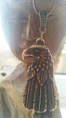 Native American Necklace Eagle Suede Brown Carved Bronze Shaman BLESSED  • 19.99£