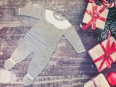 Grey Baby Boys Pram Suits Knitted Outfits Spanish Set • 12.99£