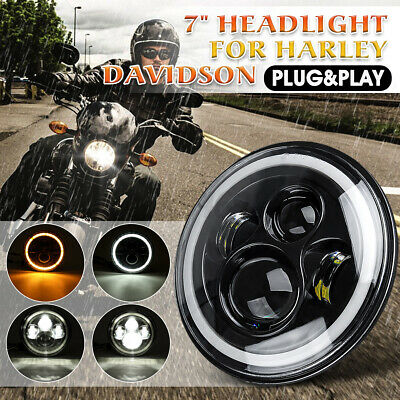 AU32.28 • Buy DOT 7'' Motorcycle Headlight Projector LED Hi/Lo DRL Waterproof For Chopper Cafe